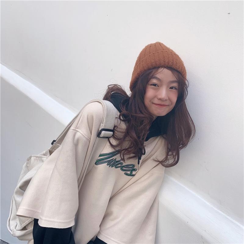 [嬌戀主角]帽t 長版 刷毛加厚 連帽刺繡大學t 韓系 大尺碼上衣 外套 寬鬆 閨蜜裝 班服 情侶穿搭 女生衣著