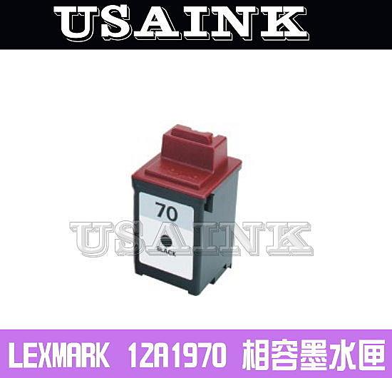 USAINK~LEXMARK 12A1970(70)黑色相容墨水匣 Color JetPrinter 3200/Z11/Z31/Z42/Z45se/Z51/Z52/Z53/Z54/Z82 Optra