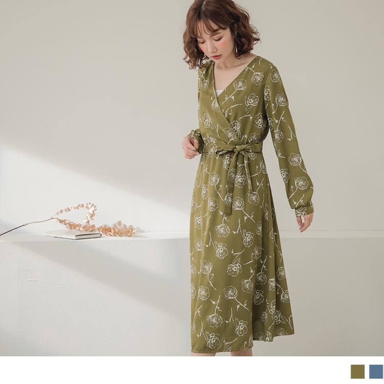 手繪玫瑰印花附綁帶收腰長袖傘襬洋裝
