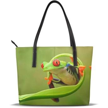 自然 動物 カエル 葉 少女 ショッピングバッグ ファッショナブル ショッピング