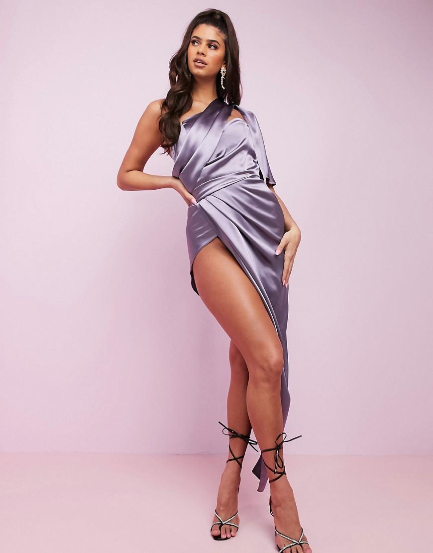 ASOS DESIGN Luxe fallen one shoulder high low premium satin drape maxi dress with hidden boning-Purp