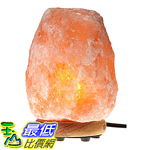[106美國直購] WBM Himalayan Glow 1002 Hand Carved Natural Salt Lamp with Genuine Neem Wood Base/Bulb and
