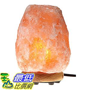 [106美國直購] WBM Himalayan Glow 1002 Hand Carved Natural Salt Lamp with Genuine Neem Wood Base/Bulb and