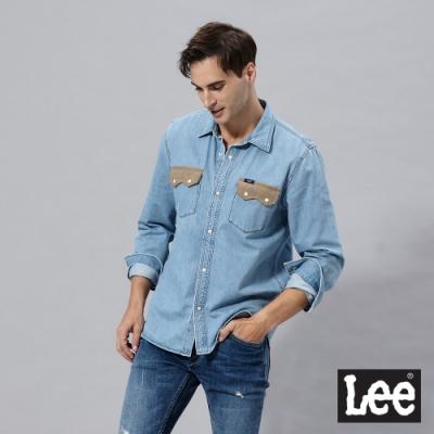 Lee 101+長袖牛仔襯衫前胸口袋絨布拼接 男 中藍