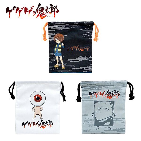 【日本正版】鬼太郎 束口袋 收納袋 抽繩束口袋 小物收納 眼珠老爹 眼珠爺爺 塗壁 466343 466350 466367