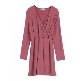 ドレス女性のドレスシンプルスリムVネック長袖ハイウエストスプライシングコットン High quality (Color : Red, Size : S)