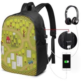 バックパック USB ポート搭載 17インチPC対応 チルドレンマップ41 大容量ビジネスリュック 通勤 通学 出張 旅行 メンズ レディース