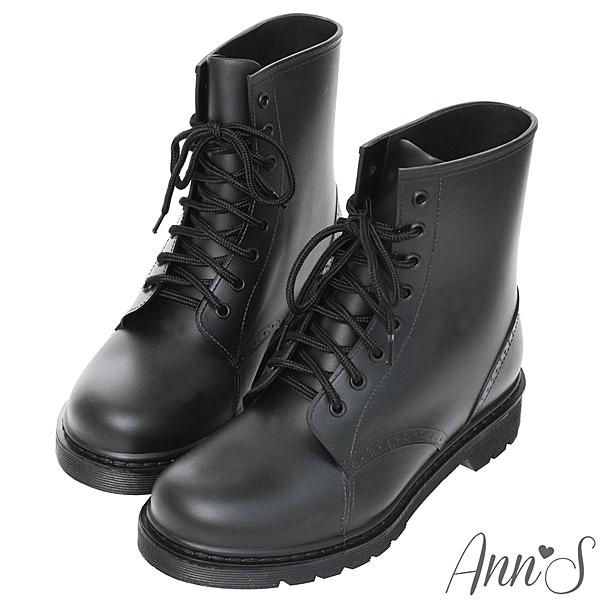 Ann'S 腳不濕 馬丁造型綁帶百搭短筒雨靴 黑