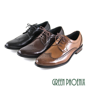 GREEN PHOENIX 波兒德 漸層雷射雕花綁帶全真皮紳士皮鞋 男鞋 T59-10963