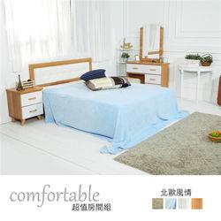 【時尚屋】[WG5]貝絲北歐床片型4件房間組-床片+掀床+床頭櫃1個+床墊1WG5-1+501A+3W+GA18-5