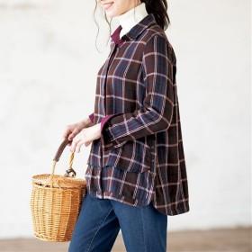 【レディース】 ふわぬくダブルガーゼのシャツ - セシール ■カラー:チェック ■サイズ:S,M,L,LL,3L