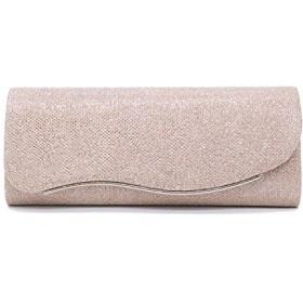 Uchi 光沢のあるディナーバッグファッションドレスバッグショルダーバッグコンパクトクラッチバッグチェーンバッグ (champagne gold)