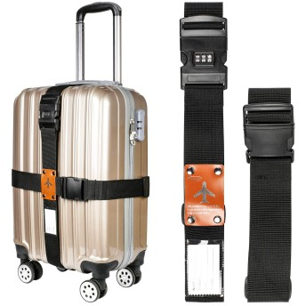 Teskyer スーツケースベルト 調整可能 スーツケース ベルト 盗難防止 梱包バンド キャリー ベルト 旅行 ダイヤル式 ロック搭載 ネームタグ付き(ブラック)