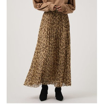 【AZUL by moussy:スカート】LEOPARD PLEATS FLARED SKIRT