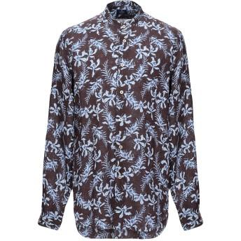 《セール開催中》ALESSANDRO GHERARDI メンズ シャツ ダークブラウン 38 リネン 100%