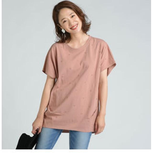 【J Lounge:トップス】星刺繍タックゆるTシャツ