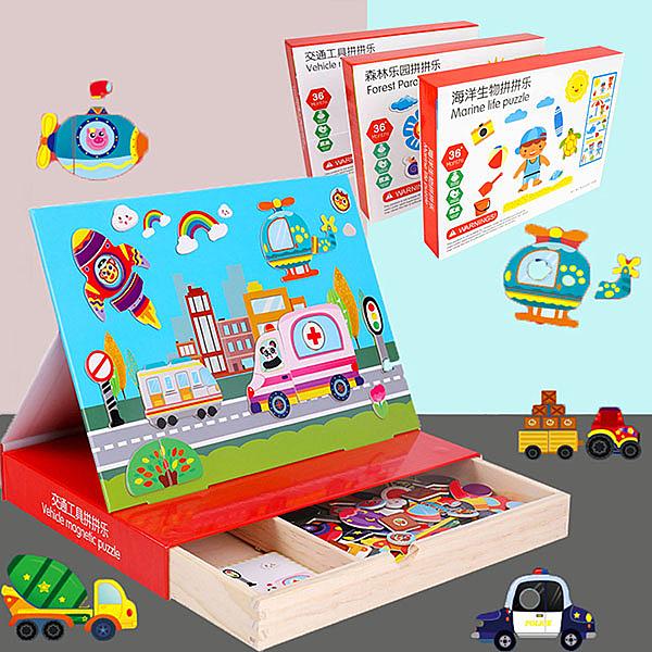 【888便利購】木丸子場景主題磁鐵拼拼樂遊戲組(木盒收納)