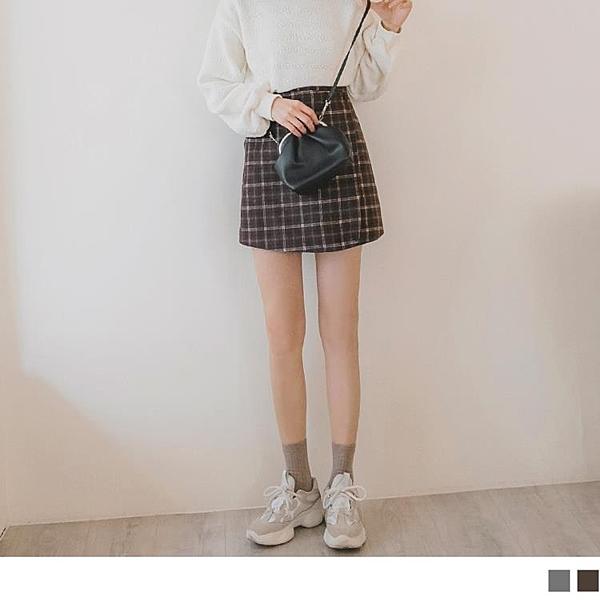 《CA1860》格紋毛呢層次剪裁A字短裙--適 XL~5L OrangeBear