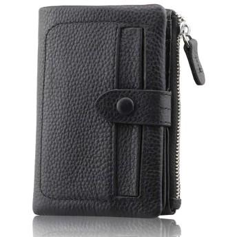 F.ZH 二つ折り財布 レディース 短財布 純正牛革製 13カード入れ 小銭入れ付 お札入れ可 コンパクトで大容量 小型で収納力が優れる (黒)