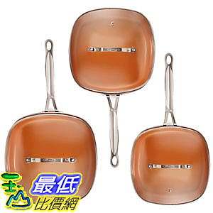[8美國直購] 不沾鍋 廚具套裝 Gotham Steel 2138 Nonstick Copper Square Shallow Pan with Lids 6 Piece Cookware Set