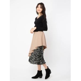 【セシルマクビー/CECIL McBEE】 花柄プリーツドッキングスカート