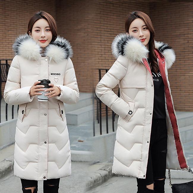 FOFU-鋪棉外套日系風大毛領修身顯瘦中長版鋪棉外套【08G-F0961】