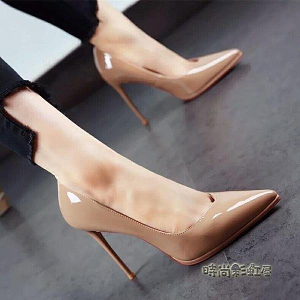 歐洲站超高跟細跟淺口漆皮套腳高跟鞋尖頭性感夜店時尚工作單鞋女「時尚彩紅屋」