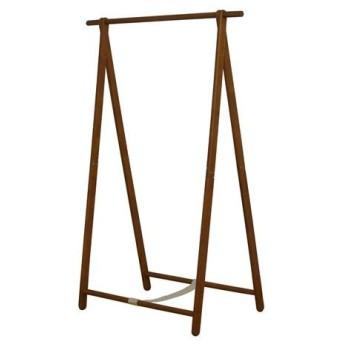 天然木 シングルハンガーラック/コートハンガー 〔ブラウン〕 幅101cm 折りたたみ可 木目調〔代引不可〕
