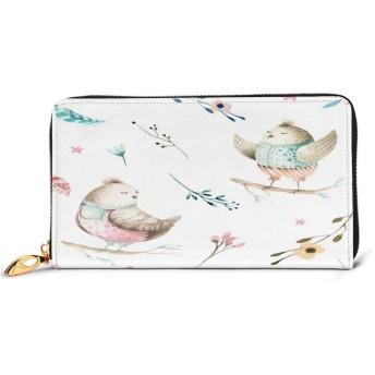Cute Baby Bird Animal レディース 財布 カワイイ 長財布 カード 本革 大容量 12枚 磁気防止 ギフトボックス付き