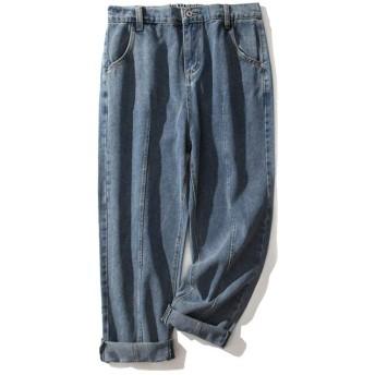 女性の緩いワイドレッグパンツプラスサイズのジーンズ野生のジーンズプラス脂肪増加のカジュアルなジーンズを洗っ Genry (Color : Blue, Size : XXXL)