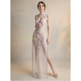 体型カバー イブニングドレス 二次会 かわいい 大人 ワンピース ノースリーブ ウェディングドレス セクシー パーティードレス レディース