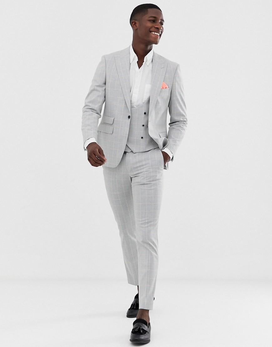 Moss London slim suit jacket in grey windowpane check with stretch