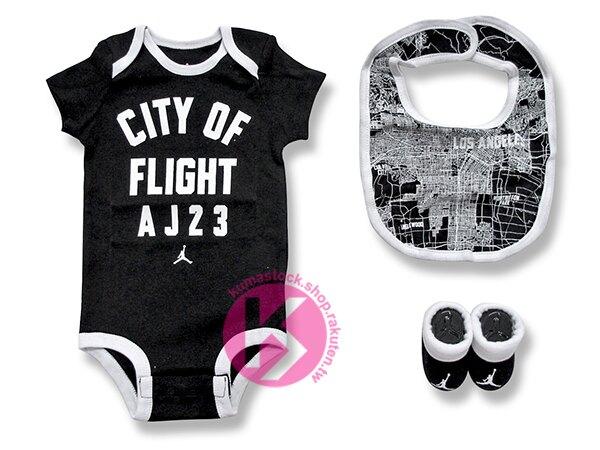 kumastock 特別入荷 0-6 個月嬰兒專用 NIKE AIR JORDAN 3 PIECE INFANT SET 三件組 黑白 LA FLIGHT 飛人 喬丹 嬰兒服 包屁衣 圍兜 嬰兒襪 最