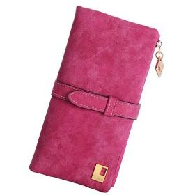 [ホマ イーショップ] 長財布 レディース PUレザー ウォレット薄型 おしゃれ レトロ調 ジップ財布 (ローズ)