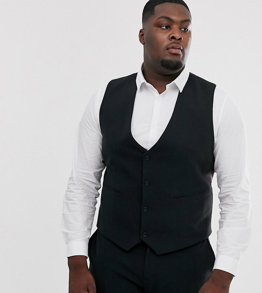 ASOS DESIGN Plus super skinny suit waistcoat in black