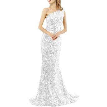 女性のイブニングドレス、セクシードレススパンコール、長いセクションパーティードレス、ワンショルダー (Color : White, Size : 18W)