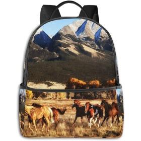 カジュアルバックパックファッションバックパック大容量学校レジャー旅行アウトドアビジネスワークコンフォートユニセックス 草原を走るグループ馬