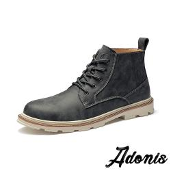 【Adonis】真皮質感刷色個性拼接復古馬丁靴 黑