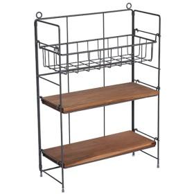 KTYXDE 3段錬鉄製収納棚、レトロコンビネーション多層収納ラック、キッチン、寝室装飾フローティングラック(L28cm×W12cm×H39cm) 棚