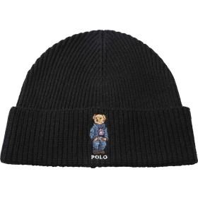 (ポロラルフローレン) POLO RALPH LAUREN ニット帽 メンズ 帽子 ニットキャップ ビーニー レディース ユニセックス ペア お揃い BEAR かっこいい おしゃれ (PC0492) フリーサイズ:ブラック [並行輸入品]