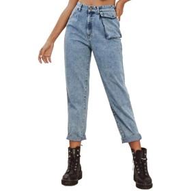 女性のスリムジーンズハイストレートジーンズレトロカジュアルジーンズライズ Genry (Color : Blue, Size : XS)