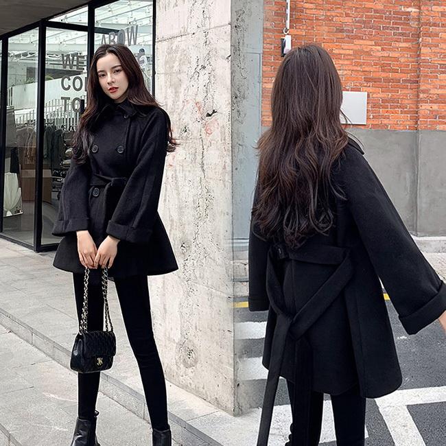 FOFU-大衣外套赫本風加厚顯瘦純色毛呢大衣外套【08G-F0965】