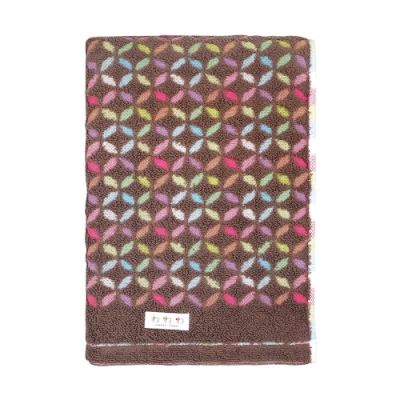 日本丸真 日本製今治認證經典和風設計浴巾 繽紛花火 玫瑰褐