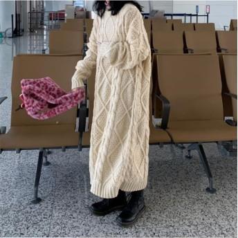 活気に満ちた少女! 韓国ファッション ワイルド ツイスト ドレス ロングワンピース ゆったりする 女の子ファッション ヴィンテージ カジュアル