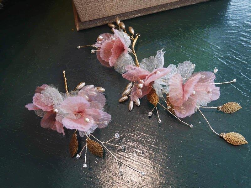 手工新娘飾品 配件  桃樂絲夢境-紗花髮飾組