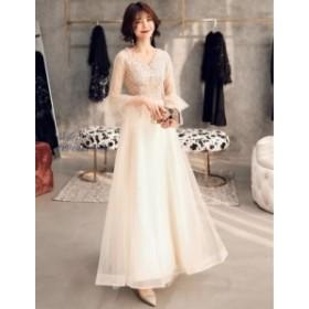 Vネック プリンセスライン 素敵 Aライン 花嫁 ブライダル ワンピ 大きいサイズ ロング丈ワンピース 女性 冠婚 ウェディングドレス 綺麗