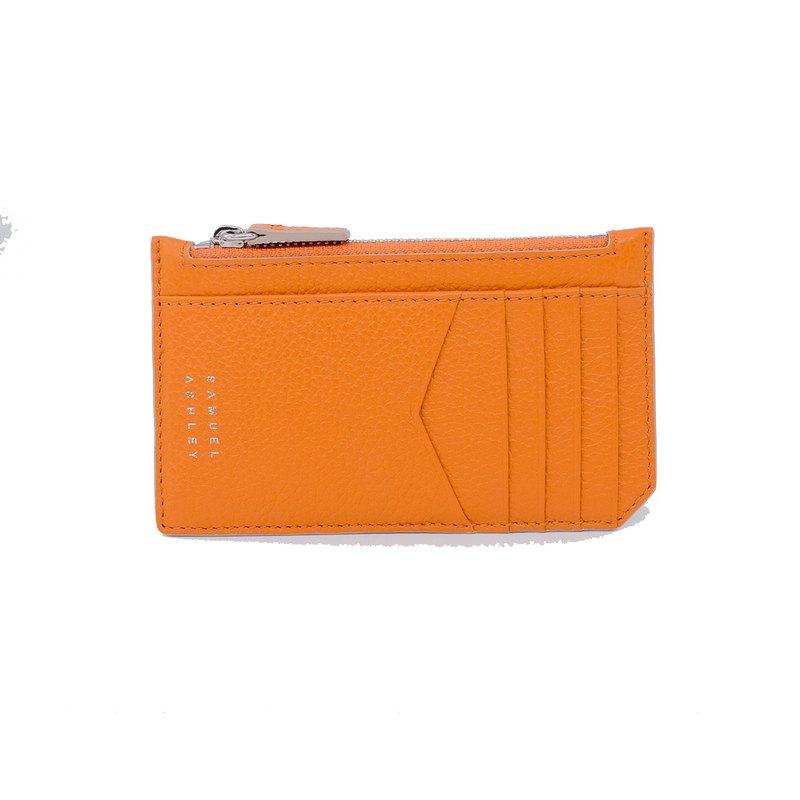 【意大利皮革】Nicky 卡片套連拉鍊口袋 - 橙色