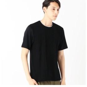 【COMME CA ISM:トップス】異素材コンビネーションTシャツ<ケーブル柄>