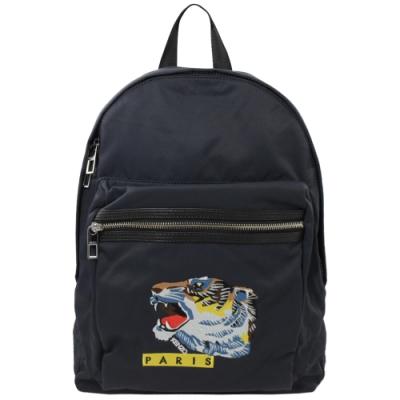 KENZO 經典電繡老虎圖案LOGO尼龍拉鍊後背包(深藍)