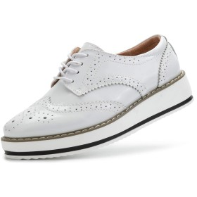 [YiCeirnier] レディースオックスフォードシューズ レースアップシューズ 身長アップ カジュアル 厚底靴 女性 女子用366-bai-24.0cm38